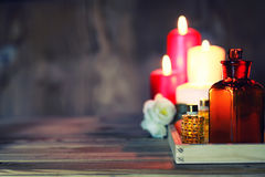 Spa candle wipes bottles Royalty Free Stock Photography