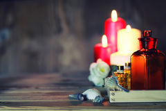 Spa candle wipes bottles Stock Photos