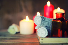 Spa candle wipes bottles Stock Photography