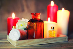 Spa candle wipes bottles Royalty Free Stock Images