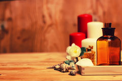 Spa candle wipes bottles Royalty Free Stock Photo