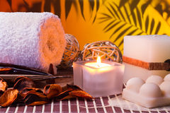 Spa with candlelight Stock Photos