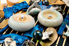 Spa candles. Still life of a spa candles and other accessories Royalty Free Stock Images