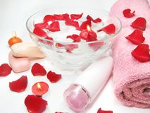 Spa candles and bathing accessories Stock Photos