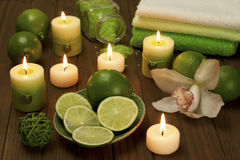 Spa candles with bathroom towels Stock Photo