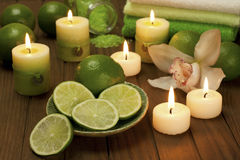 Spa candles with bathroom towels Royalty Free Stock Photos