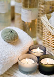 Spa candles composition Royalty Free Stock Image