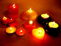 Spa candles in darkness Royalty Free Stock Images