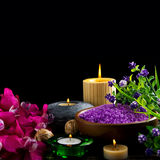 Spa candles and flowers Stock Photography