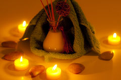 Spa candles, fragrance and towels Royalty Free Stock Image