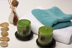 Spa candles, fragrance and towels Stock Images