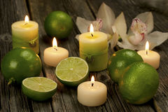 Spa candles with fruits Royalty Free Stock Images