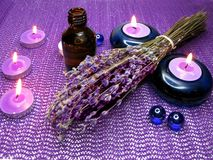 Spa candles and lavender Royalty Free Stock Images
