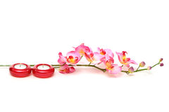 Spa candles and orchid Stock Photo