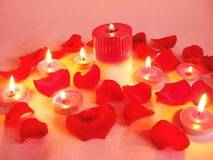 Spa candles red rose petals Stock Image