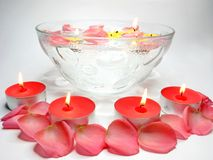 Spa candles red rose petals Royalty Free Stock Photography