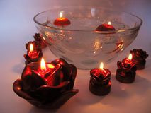 Spa candles red rose shapes Royalty Free Stock Images
