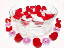 Spa candles rose flowers Royalty Free Stock Photography