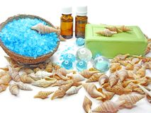 Spa candles sea shells and salt Royalty Free Stock Image