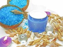 Spa candles sea shells and salt Stock Photography