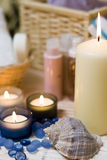 Spa candles and shell Stock Photography