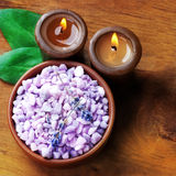 Spa candles, still life. Spa still life. lavender bath salt with candles Royalty Free Stock Photography