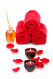 Spa candles and towels Royalty Free Stock Photo
