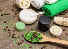 Spa and cellulite busting products on wooden surface stock images