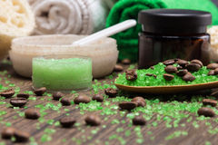 Spa and cellulite busting products on wooden surface royalty free stock images