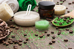 Spa and cellulite busting products on wooden surface stock photos