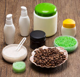 Spa and cellulite busting products on wooden surface stock photography