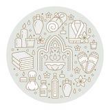 Spa center banner illustration with flat line icons. Essential oils, aromatherapy massage, turkish steam bath hamam. Sauna, bathrobe. Circle template thin vector illustration