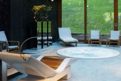 Spa center with hot tub. The spa center with hot tub stock image
