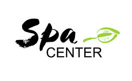 Spa center. Ink hand drawn lettering with a green leaf. Modern brush  calligraphy. White background. Elegant hand lettering for your design Royalty Free Stock Image