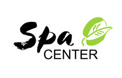 Spa center. Ink hand drawn lettering with a green leaf. Modern brush vector calligraphy. White background. Elegant hand lettering for your design Stock Photography