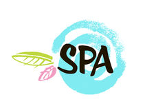 Spa center. Ink hand drawn lettering with a green leaf. Modern brush vector calligraphy Royalty Free Stock Image