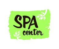Spa center. Ink hand drawn lettering with a green leaf. Modern brush vector calligraphy. White background. Elegant hand lettering for your design Stock Images