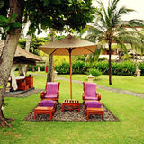 Spa chairs on resort, Bali Royalty Free Stock Images