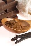 Spa chocolate aromatherapy items Royalty Free Stock Image