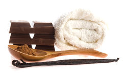 Spa chocolate aromatherapy items Royalty Free Stock Photos