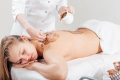 Spa Chocolate Mask. Luxury Spa Treatment . Dayspa. Spa therapy for young women having cosmetic mask at beauty salon Stock Image
