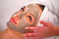Spa clay mask on a woman's face Stock Image