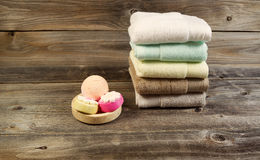 Spa Cleanse Accessories on Weathered wood Stock Image