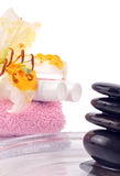Spa -clipping path. Lilly spa with zen stones - health treatment Royalty Free Stock Photos