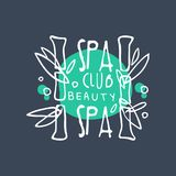 Spa club, beauty logo, badge for wellness, yoga center, health and cosmetics label, hand drawn vector Illustration. On blue background Stock Photos