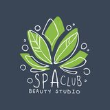 Spa club, beauty studio logo, badge for wellness, yoga center, health and cosmetics label, hand drawn vector. Illustration on blue background Royalty Free Stock Photography