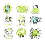 SPA club set for label design. Health and beauty care. Colorful vector Illustrations Stock Image