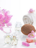 Spa coconut. Spa objects coconuts flowers towel on white background Stock Photo