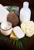 Spa coconut products on wood Royalty Free Stock Photography