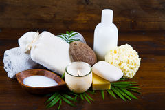 Spa coconut products on wood Royalty Free Stock Image
